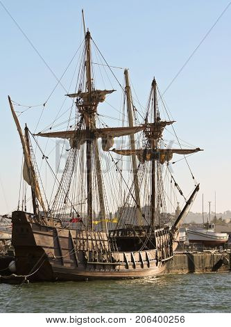 SAN DIEGO, CALIFORNIA, JUNE 13: The Maritime Museum of San Diego on June 13, 2017, in San Diego Bay, California. The San Salvador Spanish Galleon Replica at the Maritime Museum of San Diego in California.