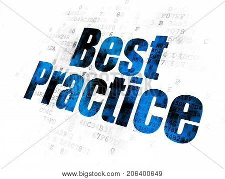 Learning concept: Pixelated blue text Best Practice on Digital background
