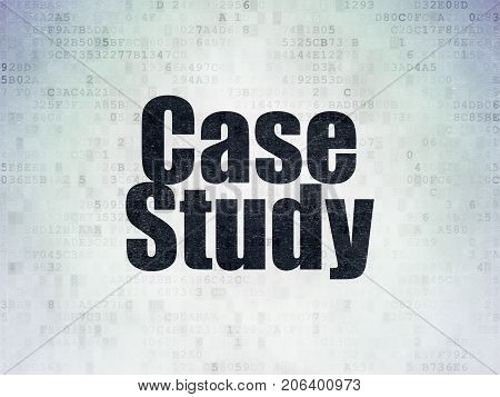 Learning concept: Painted black word Case Study on Digital Data Paper background