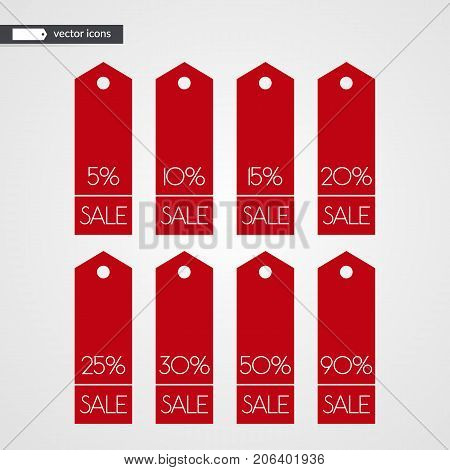 5 10 15 20 25 30 50 90 percent off shopping tag vector icons. Isolated discount symbols. Illustration signs set for sale advertisement marketing project business retail wholesale shop store