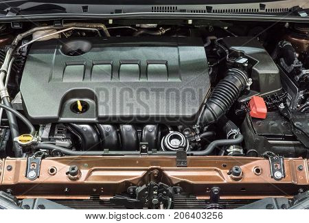 Detail of the new gasoline engine in the modern sedan car.