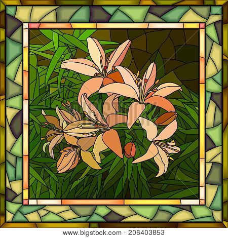 Vector mosaic of brightly pink lilies with buds on green in square stained-glass window frame.