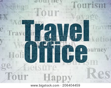 Tourism concept: Painted blue text Travel Office on Digital Data Paper background with   Tag Cloud
