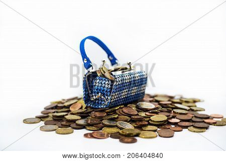 Small Toy Bad With Euro Coins.
