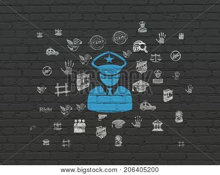 Law concept: Painted blue Police icon on Black Brick wall background with  Hand Drawn Law Icons