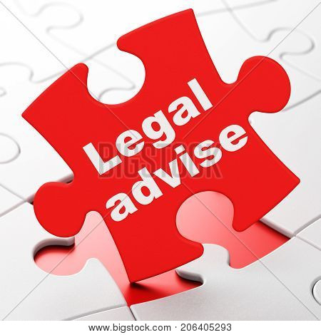Law concept: Legal Advise on Red puzzle pieces background, 3D rendering