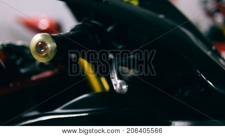 Motorcycle Brake Lever Close-up. Braking System Of A Sports Motorcycle