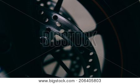 .sports Disc Brakes Motorcycle Close-up. Brake Shoes Brake Clip In Details