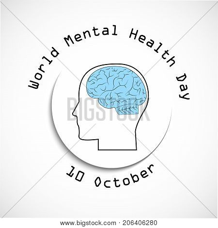 illustration of brain and face with World Mental Health Day 10th October text on the occasion of World Mental Health Day