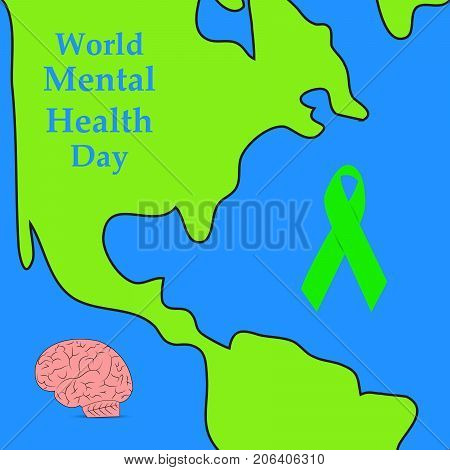 illustration of world, brain and ribbon with World Mental Health Day 10th October text on the occasion of World Mental Health Day