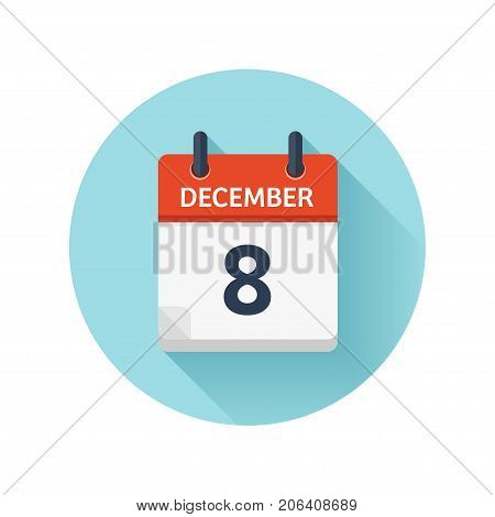 December 8. Vector flat daily calendar icon. Date and time, day, month 2018. Holiday. Season.