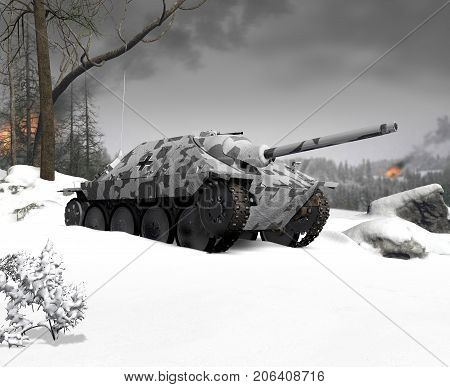 3d render of cold-weather winter warfare with a German tank assault gun.