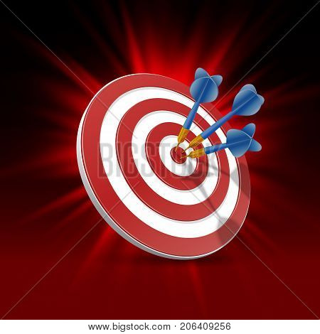 Target with darts, Target 3d background . Vector illustration