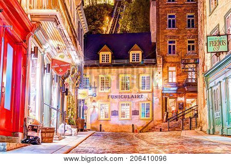Quebec City, Canada - May 31, 2017: View Of Funicular From Lower Old Town Street Rue Sous Le Fort At