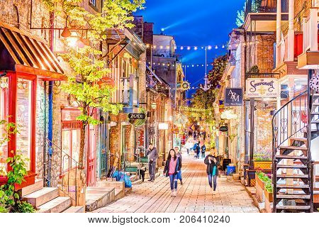 Quebec City, Canada - May 31, 2017: Lower Old Town Street Rue Du Petit Champlain With People Walking