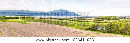 Panorama, Panoramic Aerial View Of Farmland In Ile D'orleans, Quebec, Canada, Plowed Field, Furrows,