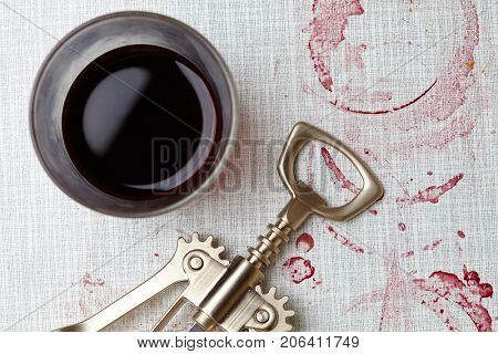 wine stains on the wood background