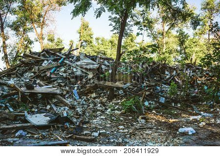 Large pile of rubbish, debris of a building, ruined house, can be used as consequences of war, earthquake, hurricane or other natural disaster