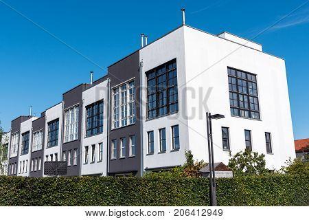 Modern serial houses seen in Berlin, Germany