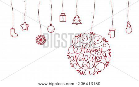 New Year text and stylized flat Christmas toys on white backgroud. Vector illustration EPS10.