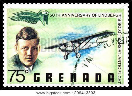 STAVROPOL RUSSIA - September 28 2017: a stamp printed in Grenada shows Charles Lindbergh trans-atlantic flight cirka 1977