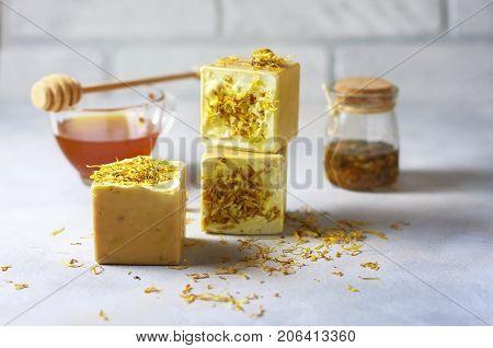 handmade soap with honey and calendula. Selective focus