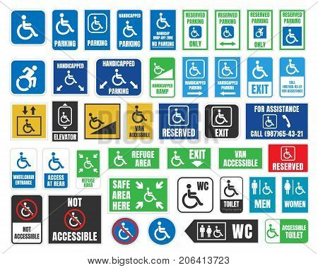 handicap icons, parking and wc signs, disabled people