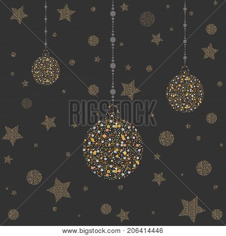 Three New Year Golden Ornaments. Golden shimmer. Merry Christmas Ornaments. Vector Illustration