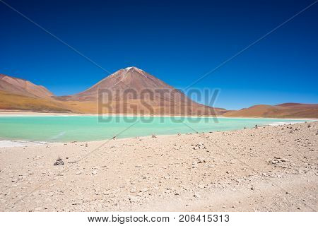Wide Angle View Of The Outstanding Green Lagoon Or
