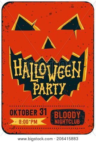 Halloween party invitation card. Halloween pumpkin with carved face and text Halloween party. Halloween flyer with text on a grunge texture. Editable Vector illustration