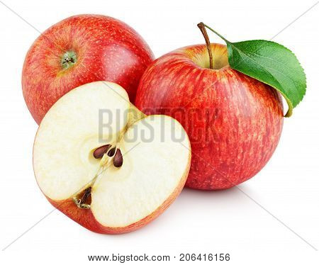 Ripe red apple fruit with apple half and apple leaf isolated on white background. Red apples and leaf with clipping path