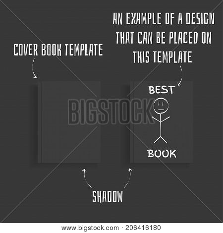 Book. Blank black book cover with shadow on a dark background. Vector illustration