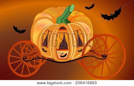 Golden pumpkin carriage for Cinderella surrounded bats