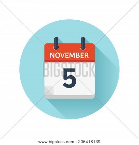 November 5. Vector flat daily calendar icon. Date and time, day, month 2018. Holiday. Season.