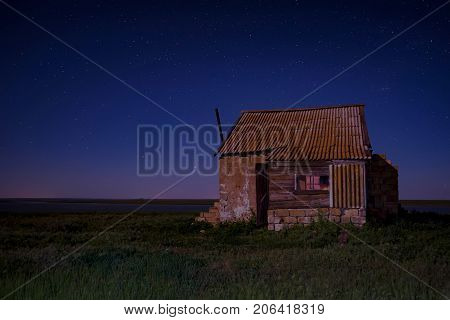 Abandoned haunted house for night horror scene