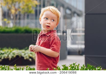Closeup portrait of cute adorable little red-haired Caucasian boy child in red t-shirt standing in park outside looking away. Happy lifestyle childhood concept