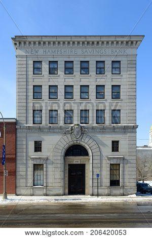 CONCORD, NH, USA - FEB. 24, 2015: New Hampshire Savings Bank on Main Street in downtown Concord, New Hampshire, USA.
