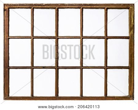 panel of vintage, grunge, sash window with dirty glass (15 panes), isolated on white
