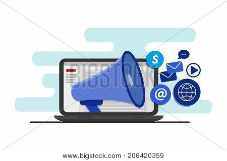 Targeting audience through digital advertising, branding, and digital media marketing, flat vector concept with icons.