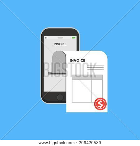 Invoice bill in smartphone concept. Vector illustration, flat style mobile phone with invoice bill paper, concept of online payment, finance, tax