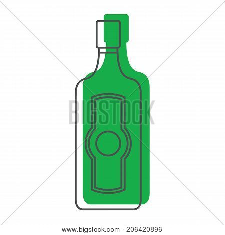 Bottle alcohol martini in line with color silhouette style icons vector illustration for design and web isolated on white background. Bottle alcohol martini vector object for labels and logo