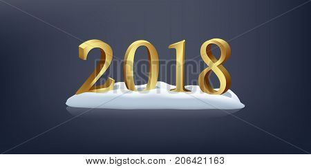 Vector three-dimensional golden sign on blue background. 2018 on snow New Year design element.
