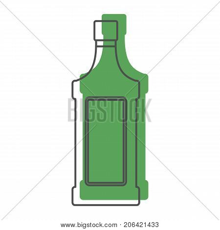 Bottle alcohol absinthe in line with color silhouette style icons vector illustration for design and web isolated on white background. Bottle alcohol absinthe vector object for labels and logo