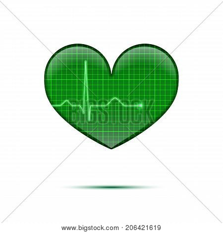 Vector isolated electrocardiogram background. Green line heart rate on the screen in heart shape.