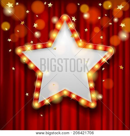 Star Award on red curtain with rain of lights. Design for presentation, concert and show