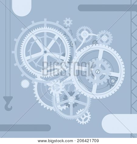Business team plate with gear wheels in flat style. Techno symbol and metaphor