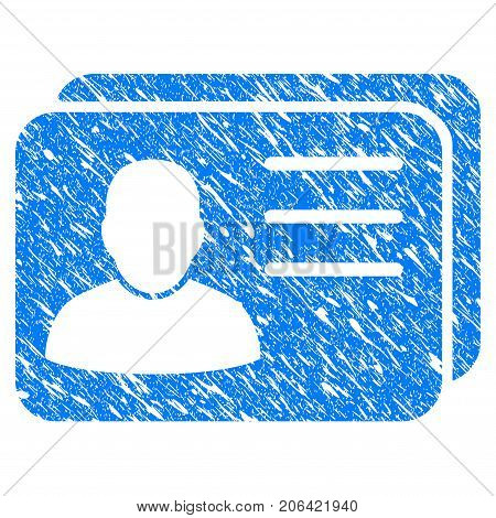 Grunge Account Cards icon with grunge design and dust texture. Unclean vector blue Account Cards pictogram for rubber seal stamp imitations and watermarks. Draft emblem symbol.