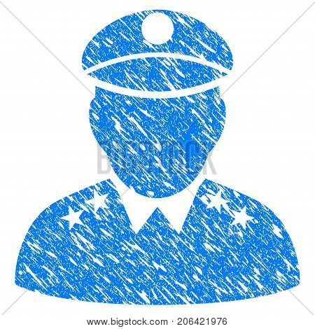 Grunge Army General icon with grunge design and scratched texture. Unclean vector blue Army General pictogram for rubber seal stamp imitations and watermarks. Draft sign symbol.