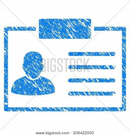 Grunge Badge icon with grunge design and unclean texture. Unclean vector blue Badge pictogram for rubber seal stamp imitations and watermarks. Draft emblem symbol.