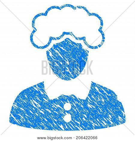 Grunge Blonde Woman icon with grunge design and unclean texture. Unclean vector blue Blonde Woman pictogram for rubber seal stamp imitations and watermarks. Draft emblem symbol.